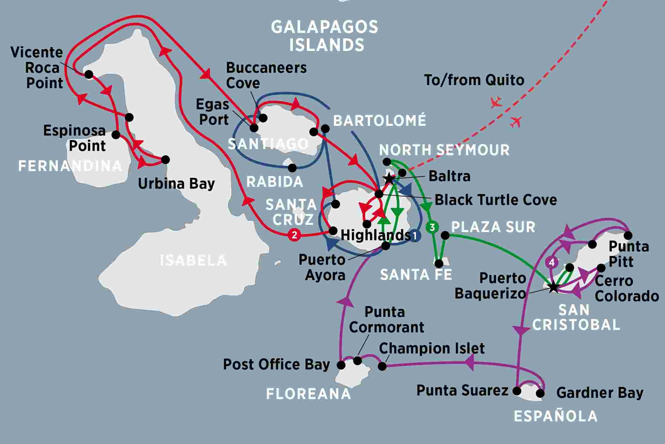 Grand Galapagos MY Coral Ecuador Tours Peregrine Adventures AU - Map where is the galapagos islands relative to the us