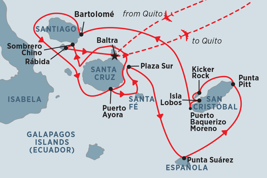 Galapagos Voyager - Central Islands (Grand Queen Beatriz) overview ...