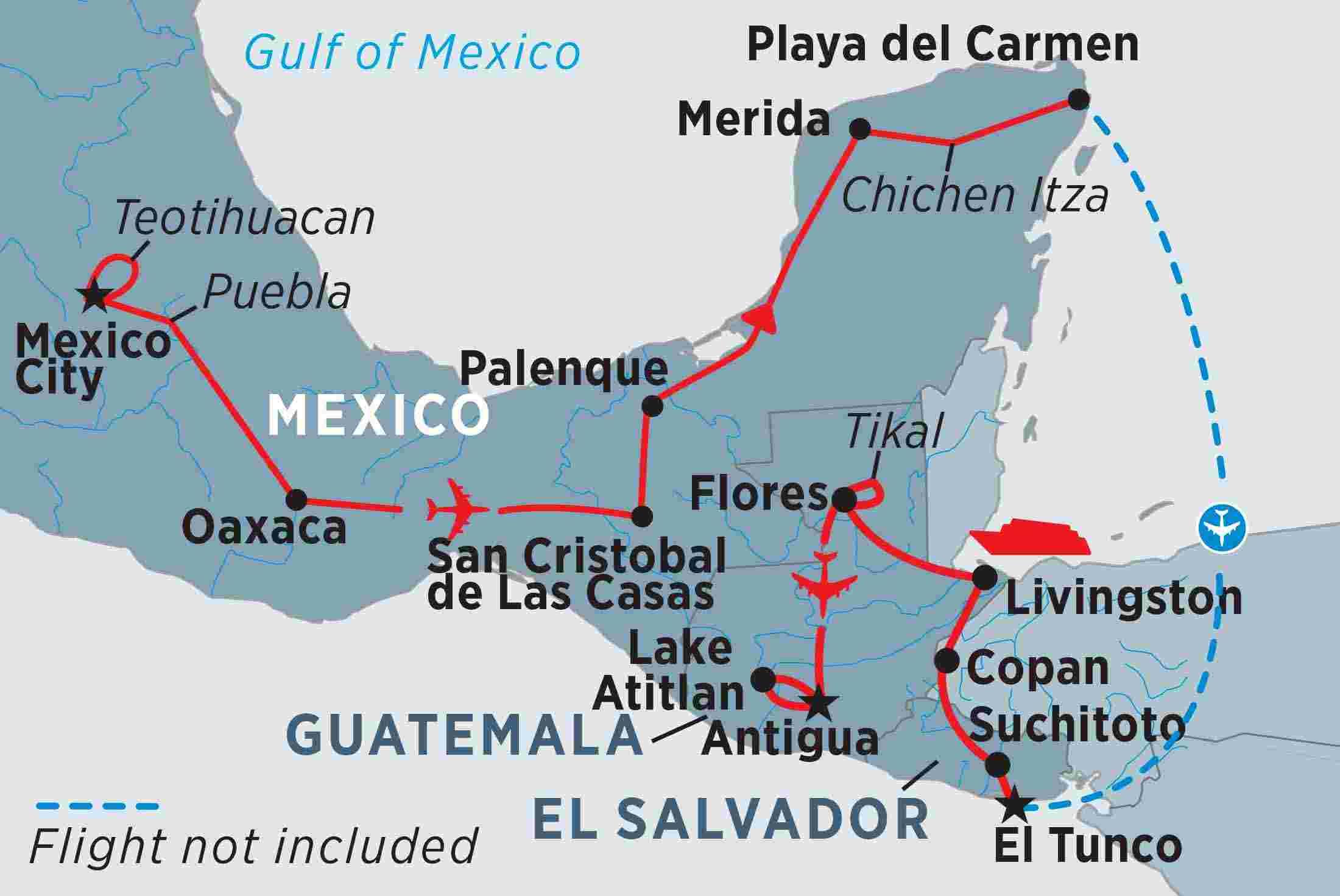 Mexico El Salvador And Guatemala Explorer Mexico Tours - Cities map el salvador map