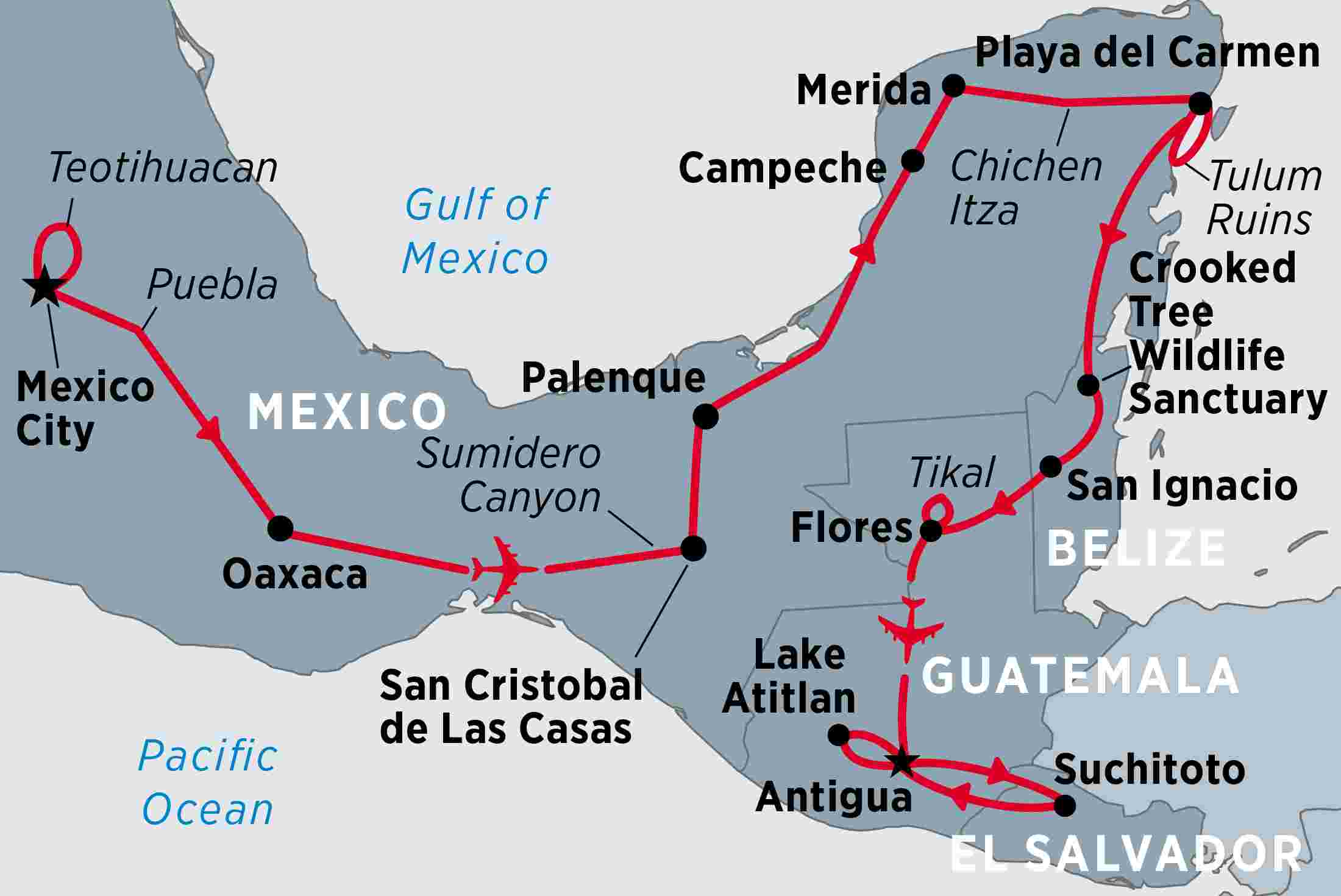 map of mexico guatemala beyond including belize el salvador guatemala and mexico